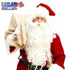 Luxury White Santa Claus Wig &Beard Set Costume Adult Christmas Fancy Dress US