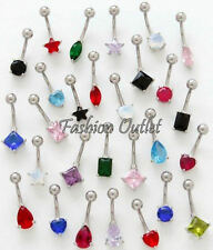 Barbell 14G 3/8 Buy 2/Get 1 Free! 7mm Cz Square Belly Button Ring Navel Dangle