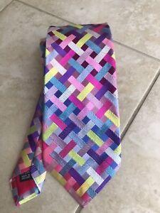 DUCHAMP pink Multicolor Geometric Checks Silk Handmade England Neck Tie NWOT New
