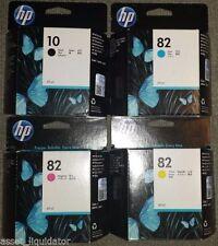 GENUINE SET 4 HP #82 Ink CARTRIDGES C4911A C4912A C4913A C4844A DESIGNJET 500