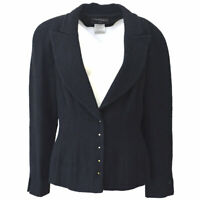 Authentic CHANEL Vintage CC Logos Long Sleeve Tweed Jacket Black #42 Y03183e
