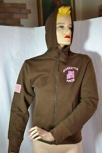 original MANHATTAN POKER Sweat SHIRT Jacke XS neu 188€ mit Kapuze trendy braun