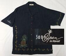 Tommy Bahama Sony Open in Hawaii Hawaiian Camp Shirt Mens Medium Black Pga Golf