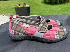 NEW Keen Harvest Womens Mary Jane Flats Pink Brown Plaid Patchwork Size 8.5