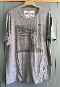 Roots Of Fight Muhammad Ali Flag T Shirt Grey XL Bnwot