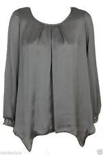 Women's Collarless Polyester Blouse Hip Length Tops & Shirts