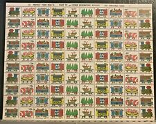 1967 Christmas Seals Full Stamp Sheet United States Xmas Railroad Train