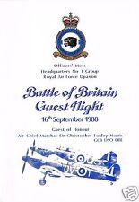 RAF UPAVON OFFICERS MESS HQ #1 GRP GUEST NIGHT SEP 88/MENU & PIC/R.DAHL/FACSIMIL