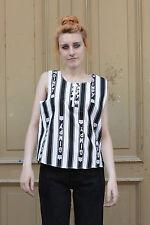 Damen Shirt Top 38 schwarz weiß white blue 90er True Vintage 90s ärmellos Sommer