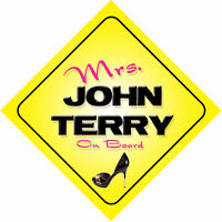 Mrs John Terry On Board Car Sign England / Chelsea