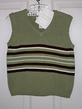 NWT STRASBURG BOYS S GREEN BROWN WHITE STRIPE V-NECK SWEATER VEST            193