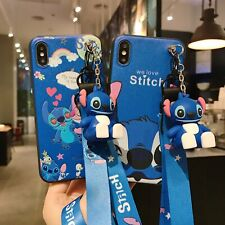 3D Cartoon Love Stitch Doll Pendant Stand + Strap Case Cover For Various Phone