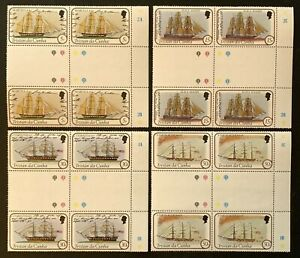 Tristan Da Cunha. Ships in Gutter BLOCKS. SG323/26 1982. (MSC984)