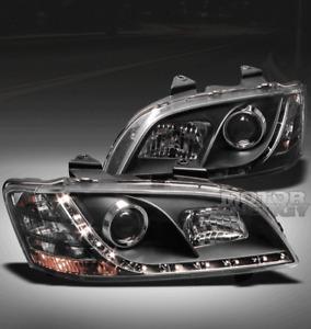 08 09 10 PONTIAC G8 GT GXP DRL LED PROJECTOR HEADLIGHT BLACK LEFT+RIGHT NEW PAIR