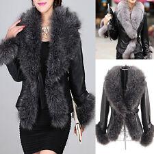Damen Mantel PU-Leder mit Pelz Kurzmantel Übergangs Winter Mantel Jacke Parka