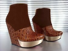 MORI WEDGES HEELS ANKLE BOOTS STIEFEL STIVALI KROCO LEATHER BROWN MARRONE 40