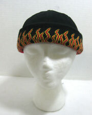 Black Bullet Cap w/ Red Flames on Cuff Biker Hat Winter Adjustable Beanie Knit