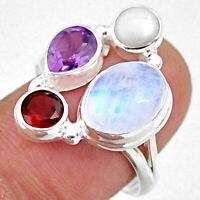 925 Silver 9.49cts Natural Rainbow Moonstone Amethyst Pearl Ring Size 8.5 R63937