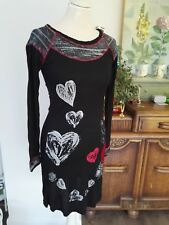 DESIGNER Desigual Black Long Sleeve Hearts Noelia Jersey Dress Knit Details £ 84 S 10