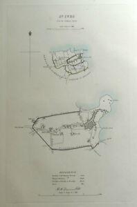 St.IVES, CORNWALL, Street Plan, Dawson Original antique hand coloured map 1832