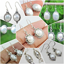 PEARL,MOTHER OF PEARL HANDMADE DESIGNER EARRING IN 925 SOLID STERLING SILVER