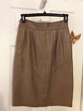 ST Gillian By Kay Ungar Vintage Taupe  Leather Pencil Skirt  Size 10