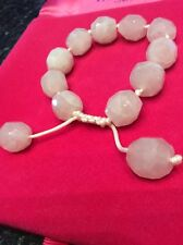 Bnwt  Adjustable Bracelet By Lola Rose In Rose Quartz Semi Precious Stone.