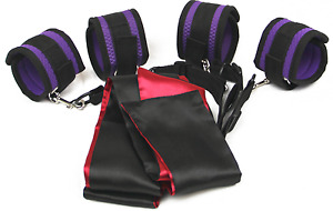 Under Bed Restraint System W/ Ankle & Wrist Cuffs + Satin Blindfold Red Or Purpl