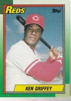 FREE SHIPPING-MINT-1990 Topps Ken Griffey Cincinnati Reds #581 PLUS BONUS CARDS