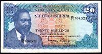 1975 KENYA 20 SHILLINGS BANKNOTE * B/71 704525 * VF * P-13b *
