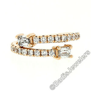 New 14k Rose Gold Emerald Cut & Round Diamond Moi et Toi Bypass Stack Band Ring