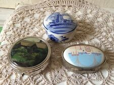 Lot x 3 small vintage pill boxes