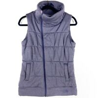 The North Face Womens S Quilted Vest Purple Zip Up Asymmetric Zipper Mock Neck
