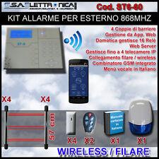 Kit allarme ibrido filare / wireless 868 mhz per esterno con barriere a 3 raggi