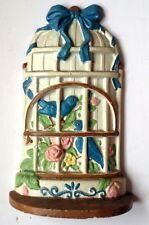 Antique Cast Iron Door Stop Blue Birds In Cage - Shabby Chic