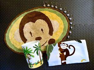 Monkeys on Trees Animal Safari Bathroom Shower Curtain 3D Basket Rug & 12 Rings
