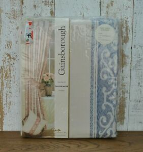 """Cream and blue lined  curtains 44""""x 54"""" Brand new"""