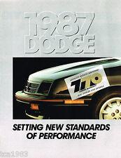 1987 Dodge ARIES/OMNI/COLT/RAM/VAN/DIPLOMAT/CHARGER/600/PickUp Truck Brochure
