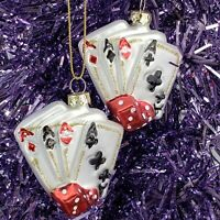 Vintage Aces Cards (2) Glass Ornaments Poker Cards Dice Vegas Gambling CMAS