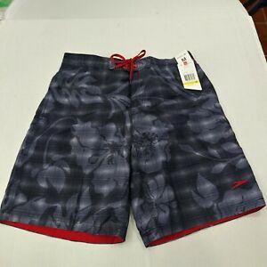 Speedo Men's Swim Trunks Gray Floral Hawaiian Medium Lined Inside Pocket NWT