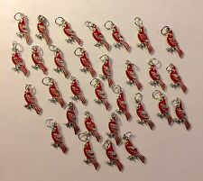 Lot of 30 Silver-Plated Enamel Cardinals Charms for Jewelry St Louis Cardinals