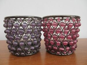 Two Beaded Candle Holder Tea Light Holder Beautiful CANDLE HOLDERS Lilac & Pink