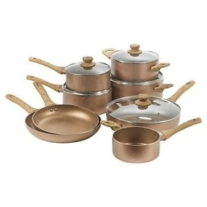 8 PCS URBN-CHEF Ceramic Rose Gold Induction Cooking Pots Frying Pan Cookware Set