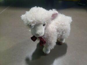 "White Sheep Lamb Plush Miyoni Aurora 12"" Stuffed Animal White Soft Fuzzy Plaid"