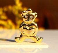BROOCH gold-tone metal, bear cub with heart in paws  ,,,,,,,,,,,,,,,