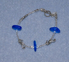 Handmade Sterling Silver Cobalt Blue Sea Glass Sea Horse Seahorse Bracelet