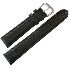 17mm deBeer Mens Black Lizard-Grain Leather Watch Band Strap
