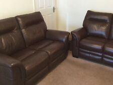 PARKER KNOLL PAIR OF HUDSON SOFAS IN BROWN LEATHER 10 MONTHS OLD RRP £4758 VGC
