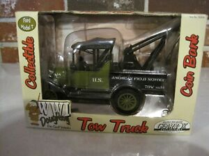 2002 GEARBOX WWI DOUGHBOY FORD MODEL T TOW TRUCK COIN BANK DIECAST--NEW