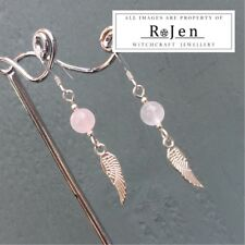 Rose Quartz Wing Earrings & 925 Sterling Silver Ear Hooks Pagan Angel Wicca LOVE